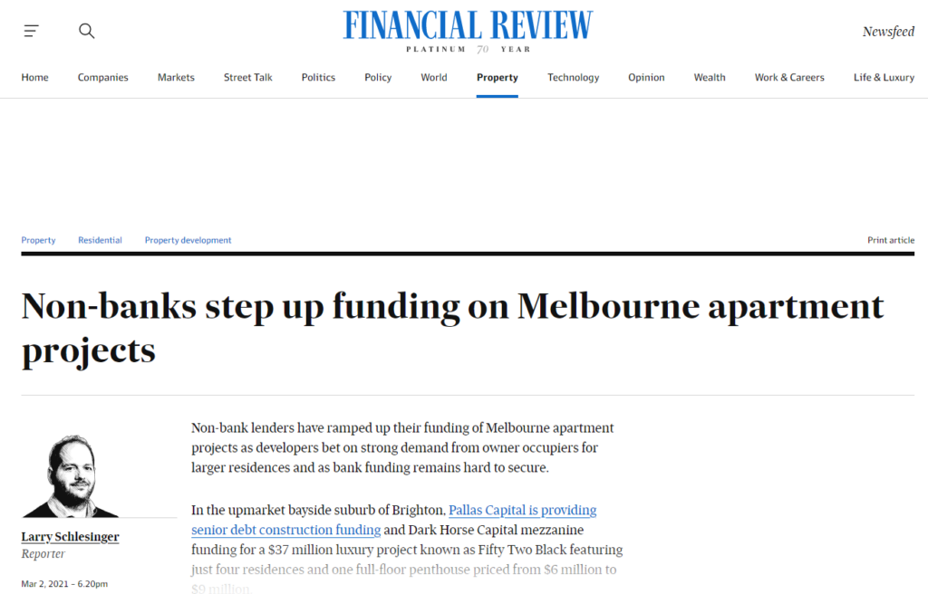 Non-banks step up funding on Melbourne apartment projects